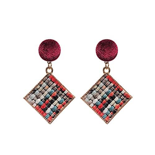 Pendientes cuadrados de tela, celosía de colores, pendientes personalizados, temperamento geométrico redondo, pendientes sencillos y versátiles, pendientes de moda para mujer