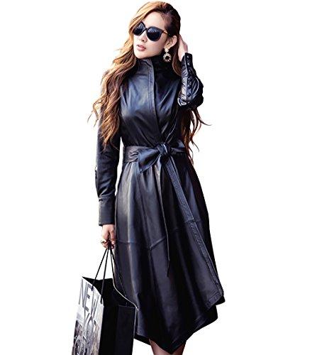 LAI MENG Damen Elegante Slim Fit Stil Trenchcoat in Lederoptik mit Asymmetrische Saum, Lange Jacke in Lederoptik mit Gürtel, Schwarz, 44 (Asien 3XL)