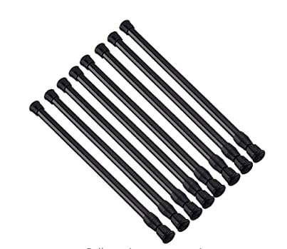 Tension Rods 28 to 48 Inches 8 Pack,Tension Curtain Rod,Spring Tension Rods ,Adjustable Extension Spring Rods Closet Rod for Windows,Kitchen, Bathroom,Cupboard,Wardrobe(Black)
