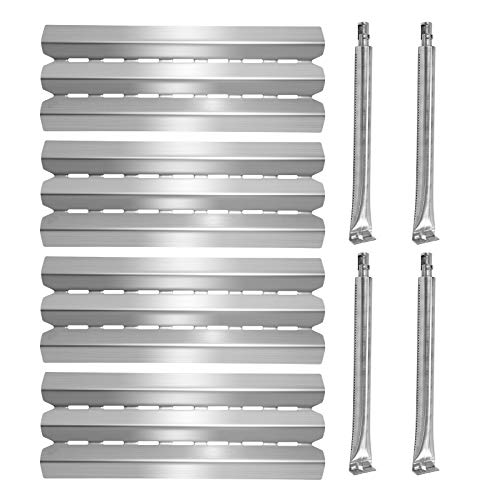Boloda Gas Grill Replacement Parts, Stainless Steel Heat Shield Plate Burner Tube, Flame Tamer Burner Cover for Grill Model Broil-Mate, Huntington, Broil King, Sterling, Rebel, Patriot, Baron (4-Pack)