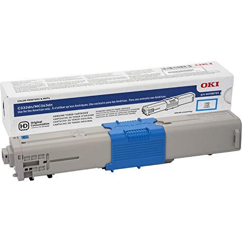 Genuine Brand Name OEM Okidata C332dn/MC363dn Cyan Toner Cartridge (3K YLD) 46508703