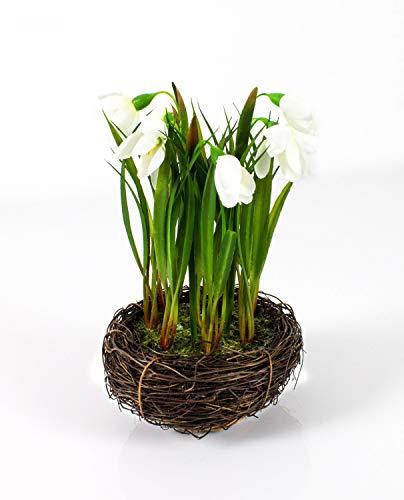 artplants.de Künstliches Schneeglöckchen im Reisig Nest, weiß, 20cm, Ø 14cm - Kunstblumen weiß - Narzisse im Topf