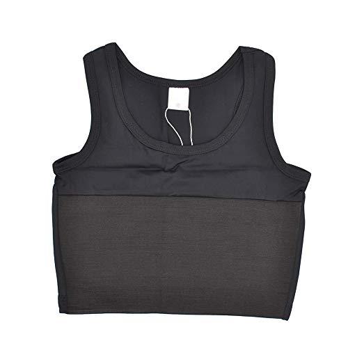 Jolie Wildfang Trans Lesbian Atmungsaktiv Super flach Kompression Brust Binder Einfarbig M-6XL Übergröße,Schwarz,XXL
