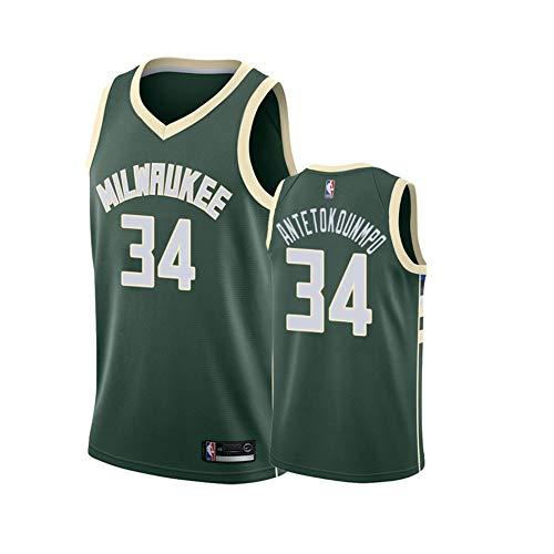 Giannis Antetokounmpo Basketballtrikot für Kinder, Milwaukee Bucks 34# Icon Edition Swingman Trikot, Polyester Breathable Fan Basketballtrikot-Green-S(165~173CM)