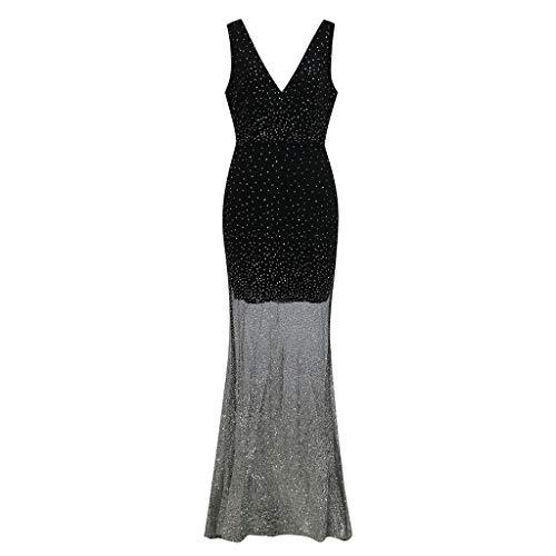 MAYOGO Ballkleider Lang Damen Durchscheinend Tüll Glitzer Rückenfrei V-Ausschnitt Elegant Abendkleider Abschlussball Kleider Cocktailkleider Fishtail Kleider Meerjungfrau Kleid