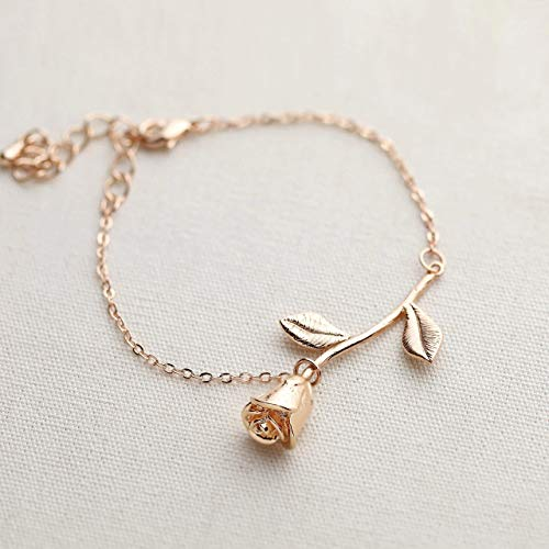 Mother's Day Gifts Rose Gold Rose Pendant Bracelet Beauty and the Beast Jewelry Rose Bracelet...