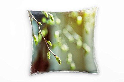 Paul Sinus Art Frühling, Knospen, Zweig, grün, braun Deko Kissen 40x40cm für Couch Sofa Lounge Zierkissen - Dekoration zum Wohlfühlen