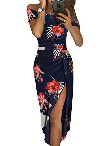 Dearlove Women's Off The Shoulder Floral Print Split Summer Beach Casual Maxi Dress Sundress Red Flower Medium