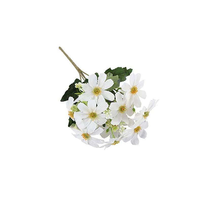 silk flower arrangements flameer 5 branch 10 heads artificial silk fake cosmos flowers wedding floral decor bouquet, artificial daisy bouquet - white