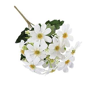 FLAMEER 5 Branch 10 Heads Artificial Silk Fake Cosmos Flowers Wedding Floral Decor Bouquet, Artificial Daisy Bouquet
