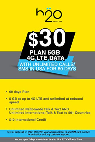USA Prepaid SIM Card H20 $30 Plan 5GB 4G LTE Data with Unlimited Calls/SMS in USA for 60 Days