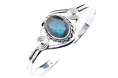 Labradorit Armreif 925 Silber Sterlingsilber Armband Armspange blau (MAR 03-05)