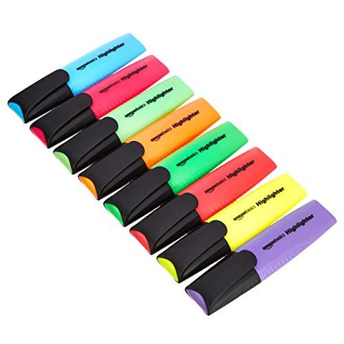AmazonBasics - Evidenziatori a forma piatta allungata, colori assortiti, confezione da 8