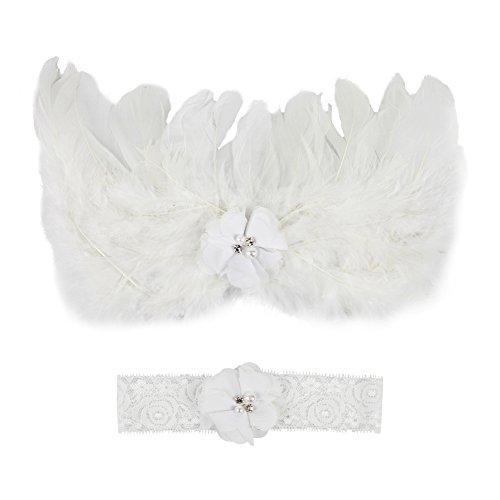 CHIC Bébé Déguisement Costume Prop Photographie Bandeau Cheveux Fleur Aile Ange Princesse 0-6M (Blanc)