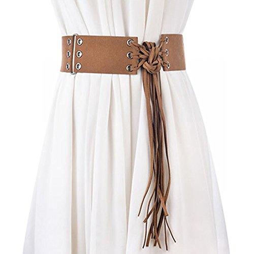 Retro Women Belt Wide Waist Belt Women's Dress Tassel Belt Knotted Decorated Brown
