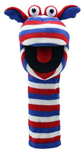 Lashuma Arm Marionette Jack Größe 40 cm, Gestreifte Strumpf Handpuppe Blau Rot Weiß, Lustige Socken Kasperpuppe