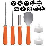 2085/5000 Pumpkin Carving Kit: questo set da carving Pumpkin comprende 1 x Zucchino scooper / raschietto, 1 x grande sega / dente di sega, 1 strumento di incisione, 1 x strumento di zucca, 2 LED candele e 10 modelli di intaglio / stencil di zucca. SI...