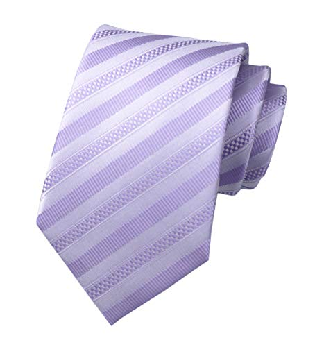 Secdtie Men's Stripe Light Purple Jacquard Woven Silk Tie Formal Necktie TW011