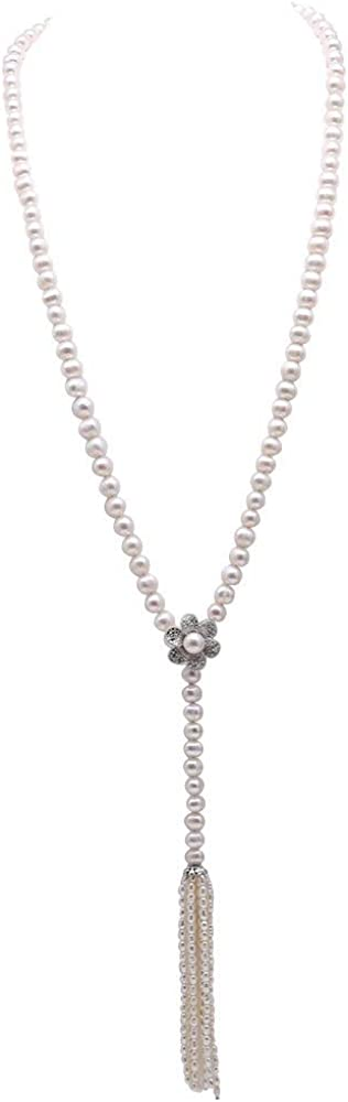 JYX Pearl Long Necklace 8-9mm Flatly Round White Cultured Freshwater Pearl Sweater Necklace Adjust Length 37.5