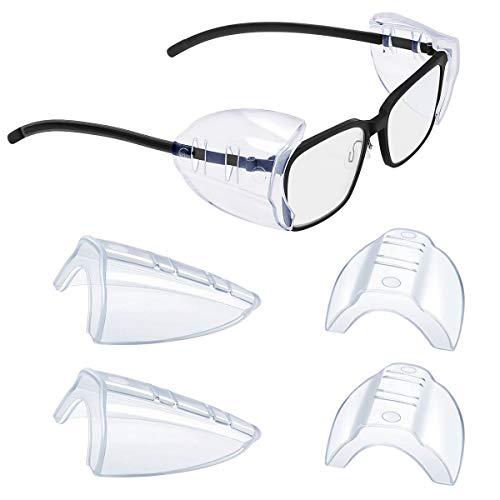 Transparente Protectores laterales, Universales Gafas Protección de seguridad Lateral Flexibles de Seguridad Protectores Laterales para Anteojos Pequeños a Medianos (2)
