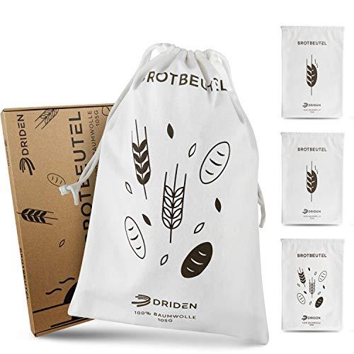 DRIDEN Brotbeutel XL [3er Set] aus 100% Baumwolle - Brottasche mit eingebautem Rissschutz für optimale Langlebigkeit - Brotsack für Großeinkäufe (XL)
