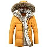 Chaqueta de plumón de Pato para Hombres y Mujeres Abrigo Parkas Cálido Cuello de Piel de Conejo Abrigo con Capucha Abrigo cálido Orange S