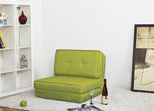 ARTDECO Schlafsessel Gästebett Jugendsessel Bettsessel (Stoffbezug grün Klein)