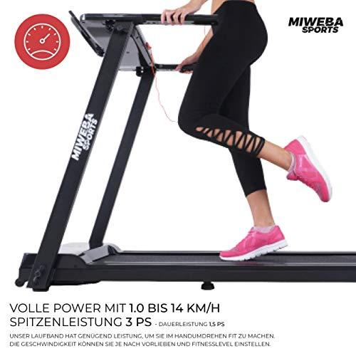 Miweba Sports elektrisches Laufband HT500 – Klappbar – 0,75 Ps – 14 Km/h – 12 Laufprogramme – Tablet Halterung – Große Lauffläche - 5