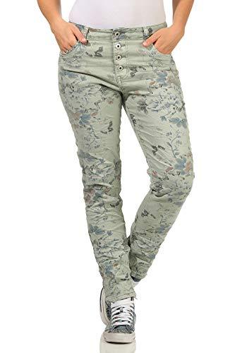 Karostar trendy Damenjeans im Boyfriends Style/Chino in aktuellen Farben/Hüfthose Stretch mit Blumenprint 25 (40, Mint)