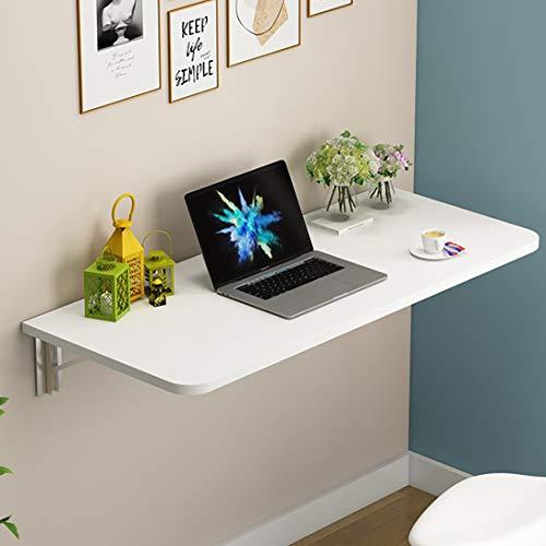 J.W. Perforierter Wandklapptisch aus massivem Holz, Kleiner Schreibtisch mit Schreibtisch, weiß