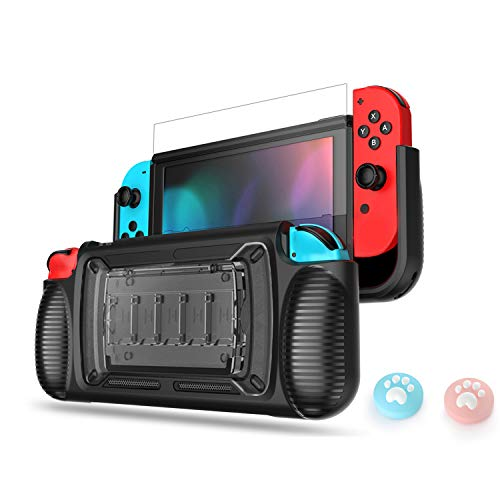 LeyuSmart Upgrade Grip Case for Nintendo Switch, Protective Cover & Tempered Glass Screen Protector & Thumb Caps , Ergonomic Design Comfortable Handheld Protector (Gray)