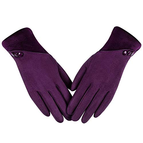 Womens Winter Warm Gloves, Contrast Color Design Touchscreen Texting Fleece Lined Windproof Driving Gloves Hand Warmer By Alepo (Purple-M)