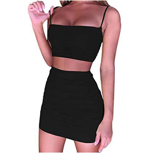 Ydwan Sommerkleid Damen Kurz, Sexy Club Kleider Slingkleid Elegante Cocktailkleider Einfarbiges Minikleid Anzug 2-teiliges Set