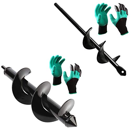 """BLIKA Auger Drill Bit, Garden Plant Flower Bulb Auger 3' x 12' and 1.60"""" x 9"""" Rapid Planter with Garden Genie Gloves, Post or Umbrella Hole Digger for 3/8' Hex Drive Drill"""