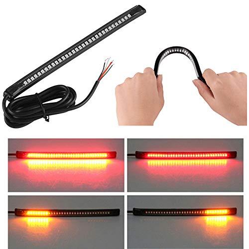 Wiipro Bande lumineuse LED universelle Harley Davidson pour feux arrière, freinage, clignotants, 32 LED, 20,3 cm, flexible pour moto