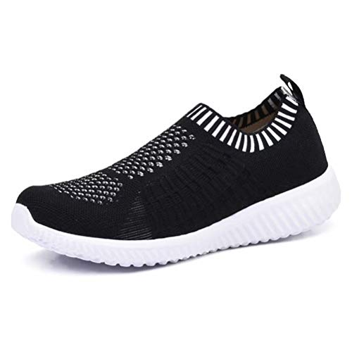 konhill Women's Lightweight Casual Walking Athletic Shoes Breathable Mesh Running Slip-on Sneakers 5 US Black,35