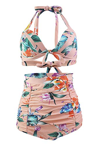 Honeystore Women's Retro 50s Halter High Waist Ruched Bikini Swimsuit Peach with Flower XXXL