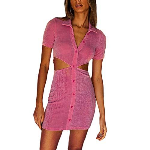 Vestido de camisa para mujer Y2K Vintage Sexy Bodycon Vestidos de manga corta Casual Mini vestido E-Girls Retro Blusa Vestido Corto