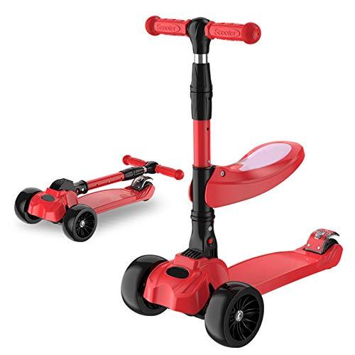 YWJPJ. Scooters de Tiro de 3 Ruedas para niños con Asiento extraíble, 3 en 1 Altura Ajustable para niños Scooter con Ruedas Ligeras Scooters para niños pequeños para niños y niñas de 2 a 9 años,Rojo