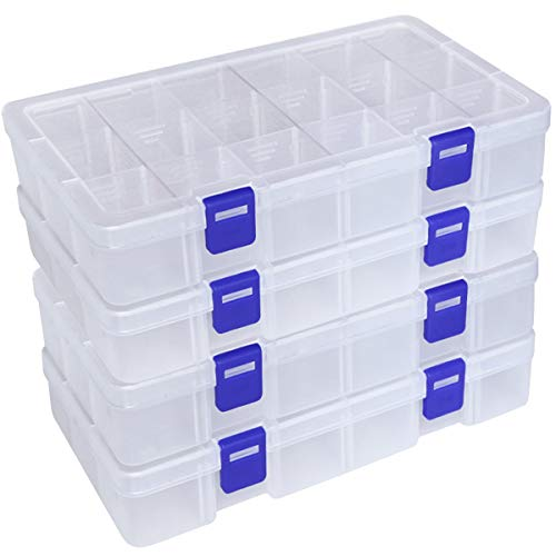 DUOFIRE Plastic Organizer Container Storage Box Adjustable Divider Removable Grid Compartment for Jewelry Beads Earring Tool Fishing Hook Small Accessories(18 grids, White X 4)