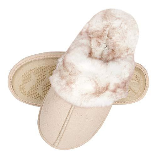 Jessica Simpson Women's Comfy Faux Fur House Slipper Scuff Memory Foam Slip on Anti-skid Sole, Ivory, Small