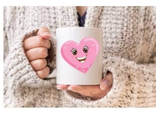 N\A Lachender Lächelnherz-Emoji-Becher. Valentinstag. Romantische Tasse. Geschenk für ihn. Geschenk für sie. Lustig romantisch. Ich Liebe Dich Tasse