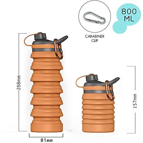 スポーツボトル 折りたたみ水筒 大容量 800ml 携帯式シリコンボトル 自転車 登山用 高い密封性 BPAフリー 食品グレード 軽量 無毒無臭 耐冷耐熱