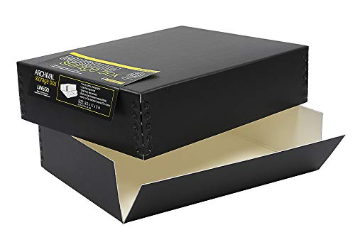 Lineco. Museum Archival Drop-Front Storage Box. Acid-Free, Metal Edges, Lignin-Free, Removable Lid. 8.5 X 10.5 X 3 Inches. Photo Organizer, Store and Protect Prints. Black Exterior.
