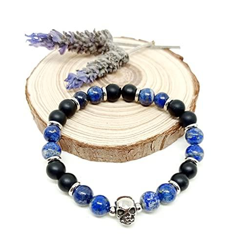 Pulsera de Piedras Naturales, pulsera de Hombre, pulsera con Acero, pulsera con calavera, pulsera energética, regalo original (L-19.50cm)