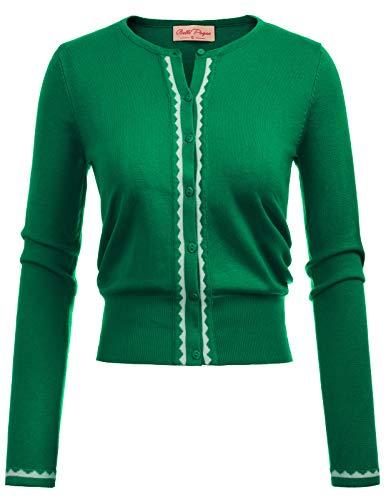 Belle Poque Strickjacke Damen grün Langarm Schulterjacke Rundausschnitt Cardigan Top M BP779-3