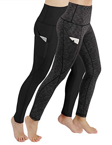 ODODOS Women's High Waisted Yoga Pants with Pocket, Workout Sports Running Athletic Pants with Pocket, Full-Length,BlackSpaceDyeCharcoal2Pack,Large