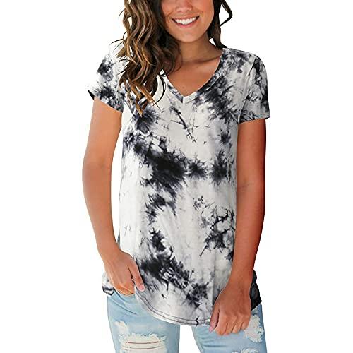 Jersey Informal De Primavera Y Verano para Mujer, Camiseta De Manga Corta con Estampado De TeñIdo Anudado Y Cuello En V Suelto, Top para Mujer