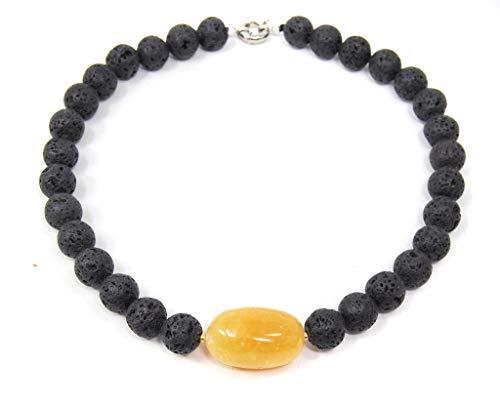 Damen Halskette Edelsteinkette aus Lava mit einer Stein-Perle aus Honigcalcit Schwarz Farben