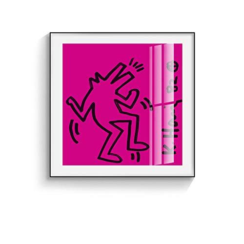 XIXISA Art Keith Haring peinture abstraite Affiches et Impressions créatives minimaliste mur Art Toile Photos Pour Salon Chambre 50x50 cm sans Cadre